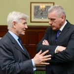 Co-operation Ireland Chairman Christopher Moran chats with Shadow Secretary of State Vernon Coaker
