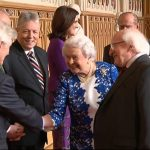 Her Majesty the Queen greeting Christopher Moran during the Historic Irish State Visit