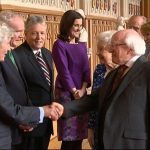 Christopher Moran is greeted by the President of Ireland, Michael D. Higgins