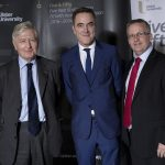 Ulster University Chancellor's Lecture - L-R: Dr Christopher Moran, Dr James Nesbitt, Chancellor and Professor Paddy Nixon, Vice-Chancellor. (Photo: Nigel McDowell/Ulster University).
