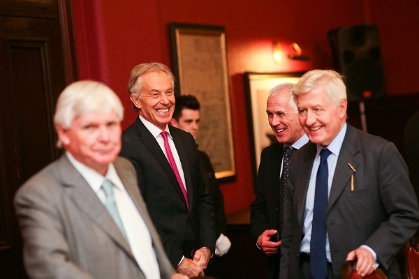 Signatories Tony Blair, Bertie Ahern and George Mitchell attend Co-operation Ireland's Chairman's Agreement anniversary dinner at Titanic Hotel