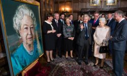 Dr. Christopher Moran, Chairman of Co-operation Ireland, Her Majesty Queen Elizabeth II, and Irish artist Colin Davidson with political leaders, pictured discussing Colin's portrayal of Her Majesty at Crosby Hall