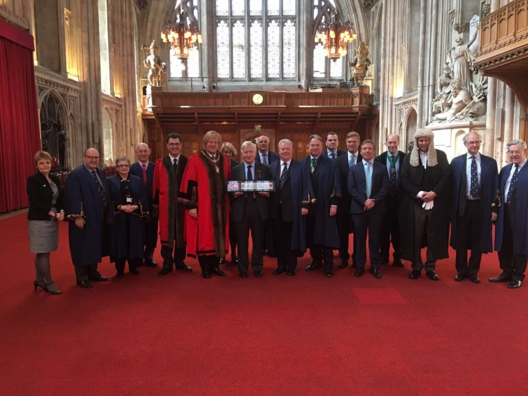 Dr. Christopher Moran made Freeman of the City of London, with Lord Mayor Sir David Hugh Wooton, Alderman Vincent Thomas Keaveny and representatives of the City of London (The Guildhall, London)
