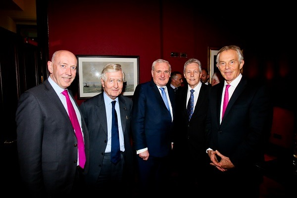 Signatories Tony Blair, Bertie Ahern and George Mitchell attended the Co-operation Ireland event at Titanic Hotel