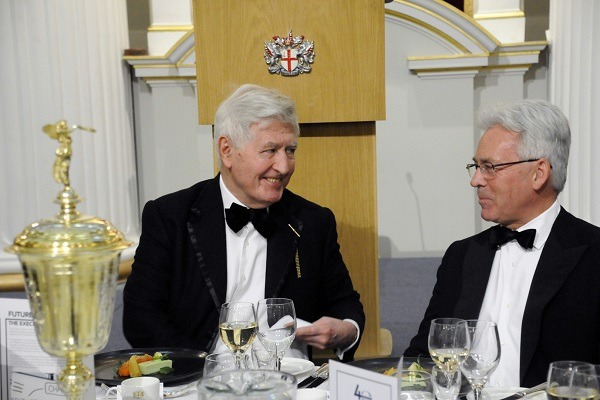 Dr. Christopher Moran, Chairman of Co-operation Ireland with The Rt Hon Sir Alan Duncan KCMG MP at the Co-operation Ireland Annual City Dinner (Mansion House, London)
