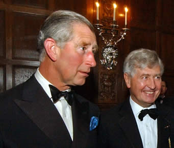 His Royal Highness Prince Charles The Prince of Wales with Dr. Christopher Moran at his home in support of Mary Rose Trust (Crosby Hall)
