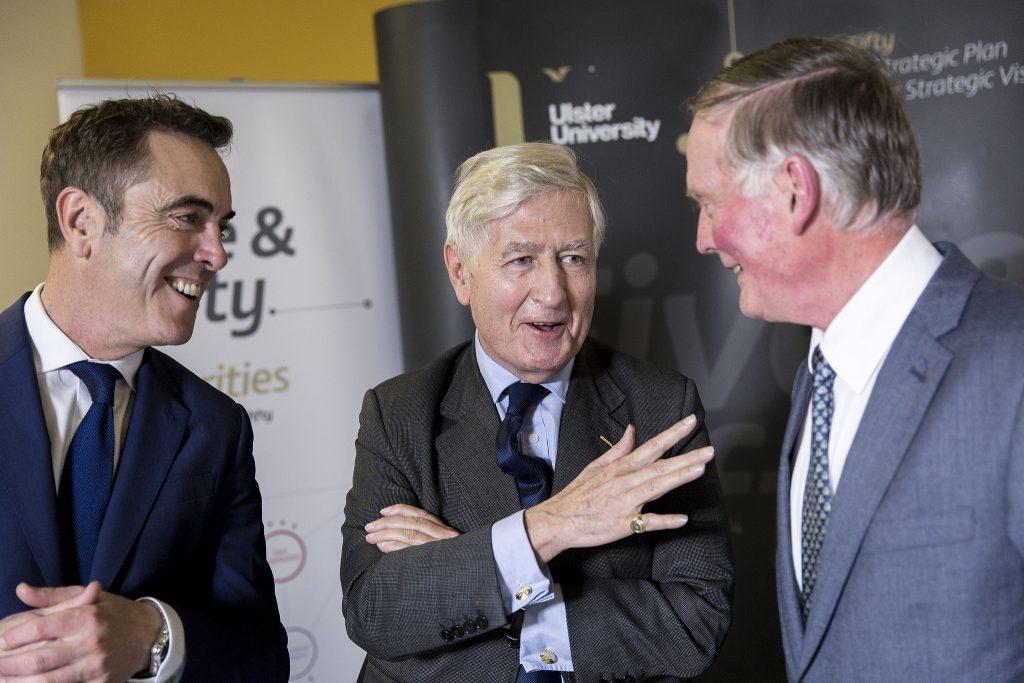 Ulster University Chancellor's Lecture – L-R: Dr James Nesbitt, Chancellor of Ulster University, Dr Christopher Moran and Mr John Hunter, Pro-Chancellor, Ulster University Council. (Photo: Nigel McDowell/Ulster University)