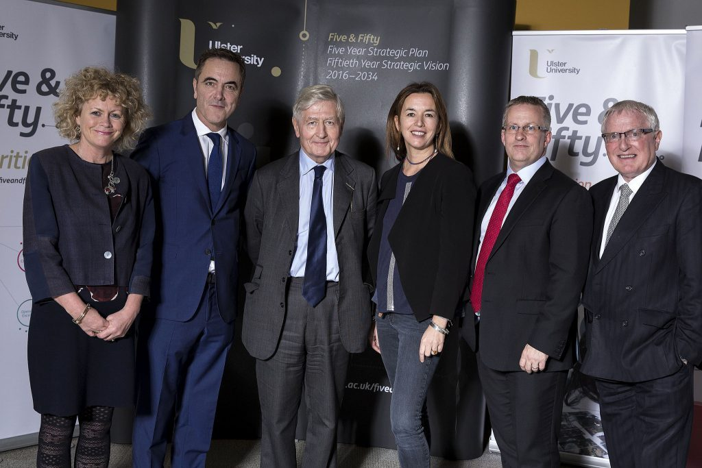 Ulster University Chancellor's Lecture – L-R: Niamh Lamond, Chief Operating Officer, Dr James Nesbitt, Chancellor, Dr Christopher Moran, Raffaella Folli, Professor of Linguistics and Head of the School of Communication and Provost of the Belfast and Jordanstown campuses, Professor Paddy Nixon, Vice-Chancellor and Professor Alastair Adair, Deputy Vice-Chancellor. (Photo: Nigel McDowell/Ulster University)