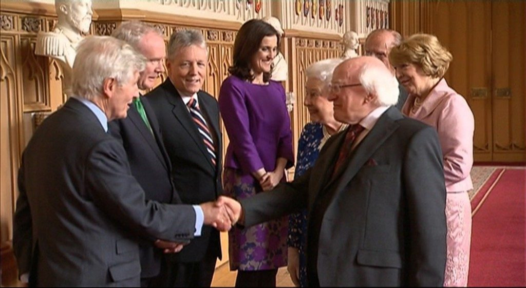 Dr. Moran hosts historic state visit with Co-operation patrons, Her Majesty Queen Elizabeth II and the President of Ireland, Michael D. Higgins.  With the Duke of Edinburgh, Mrs. Sabina Higgins, former Deputy First Minister of Northern Ireland Martin McGuinness, Peter Robinson MLA, Secretary of State for Northern Ireland Theresa Villiers