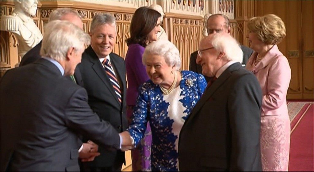 Co-operation Ireland patrons, Her Majesty Queen Elizabeth II and the President of Ireland Michael D. Higgins.  With His Royal Highness The Prince Phillip Duke of Edinburgh; Mrs. Sabina Higgins; Former Deputy First Minister of Northern Ireland Martin McGuinness; Peter Robinson MLA; Secretary of State for Northern Ireland Theresa Villiers; and Dr. Christopher Moran at a historic state visit facilitated by the charity.
