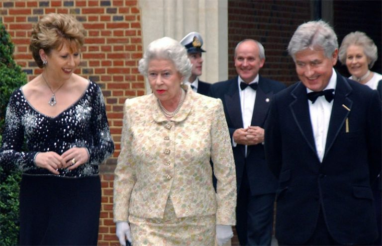 (L-R) President of Ireland Mary McAleese, Her Majesty The Queen, Dr. Christopher Moran, Chairman of Co-operation Ireland at Dr. Moran's home, Crosby Hall