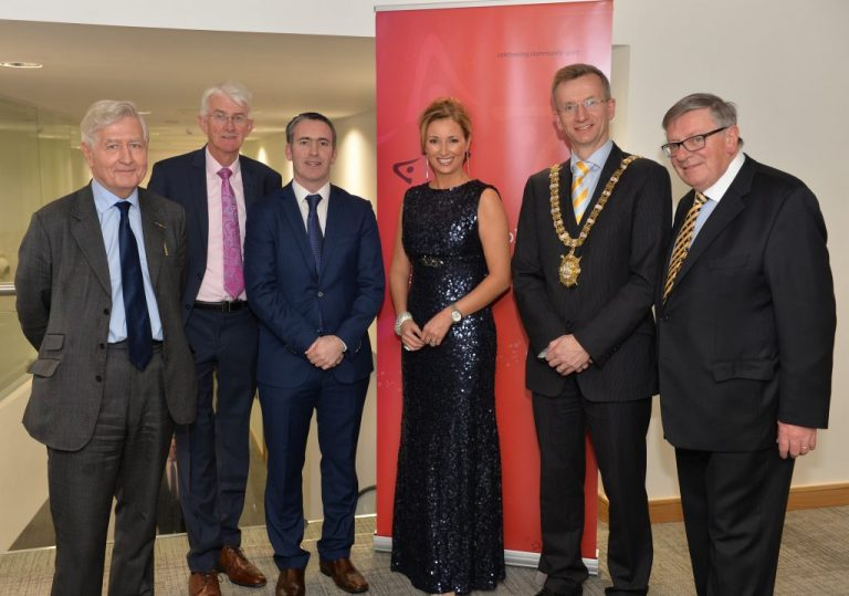 (L-R) Dr. Christopher Moran, Chairman of Co-operation Ireland, Tom Dowling, Chairman of the Pride of Place Committee, Damien English TD, Minister of State for Housing and Urban Renewal, Claire McCollum, Presenter, Lord Mayor of Belfast Brian Kingston, and George Jones IPB Chairman