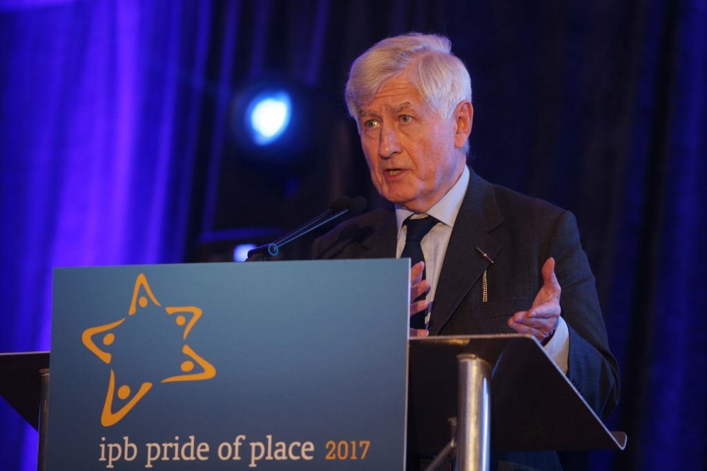 Dr. Christopher Moran, Chairman of Co-operation Ireland speaks on the importance of community investment at the 2017 Pride of Place Awards
