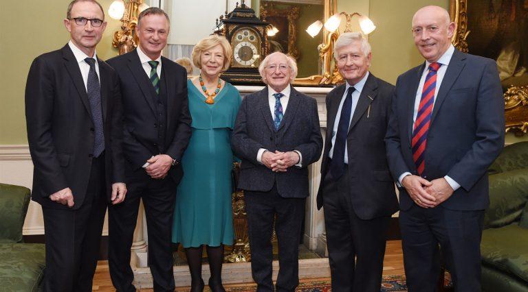President of Ireland Dr. Christopher Moran Peter Sheridan Football Friendly Martin O'Neill Michael O'Neill Dublin