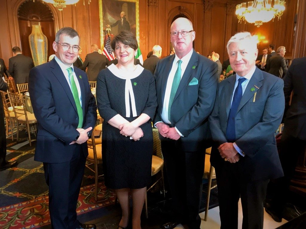 Dr. Christopher Moran, Chairman of Cooperation Ireland with (L-R) Drew Harris, Garda Commissioner of the Republic of Ireland; The Rt. Hon. Arlene Foster MLA; and George Hamilton, Chief Constable of the Police Service of Northern Ireland attend the Friends of Ireland Lunch with Speaker of the House Nancy Pelosi and joined by President Trump and Vice-President Mike Pence
