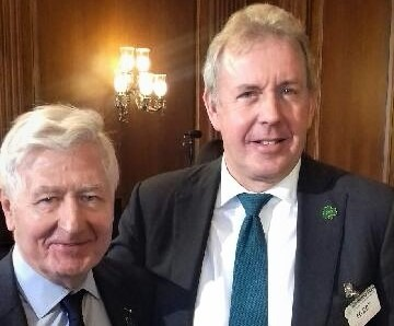 Dr. Christopher Moran, Chairman of Co-operation Ireland and British Ambassador to the United States Kim Darroch KCMG attend a Friends of Ireland Lunch hosted by Nancy Pelosi on Capitol Hill and joined by President Trump and Vice-President Michael Pence and An Taoiseach Leo Varadkar