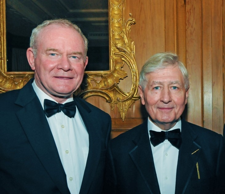 Dr. Christopher Moran, Chairman of Co-operation Ireland with Deputy First Minister of Northern Ireland Martin McGuinness