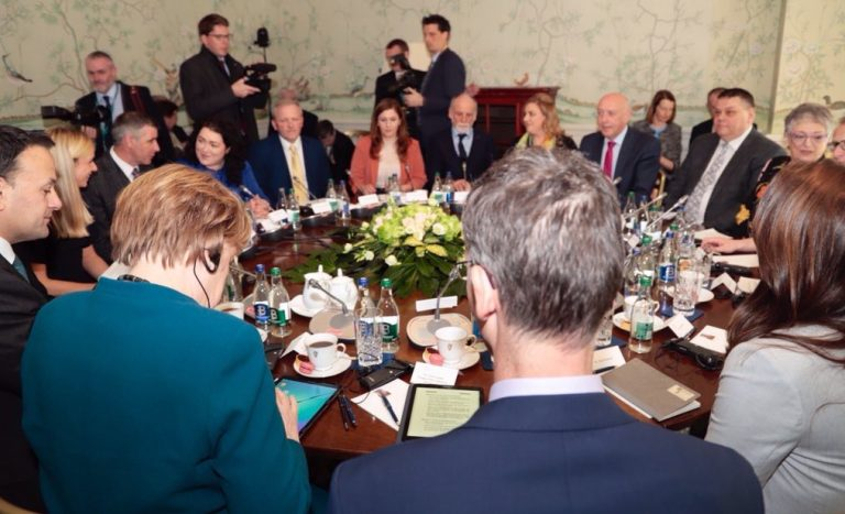 Co-operation Ireland German Chancellor Angela Merkel An Taoiseach Leo Varadkar at Round-table moderated by CEO Peter Sheridan in Dublin discussing Northern Ireland border, shared lived experiences, and Brexit