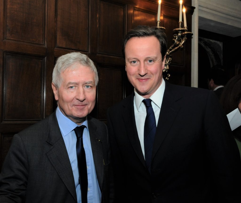 Dr. Christopher Moran and Prime Minister David Cameron at dinner at Crosby Hall