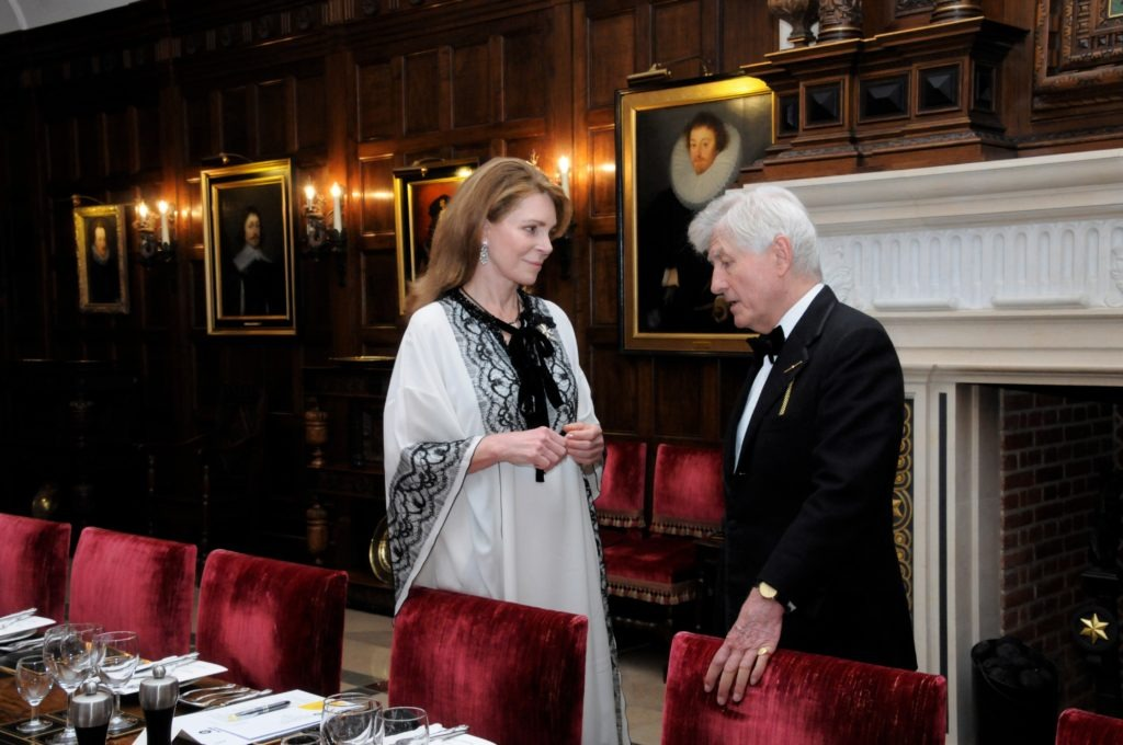 Dr. Christopher Moran and Queen Noor of Jordan in aid of St. John of Jerusalem at Crosby Hall